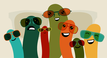 stupid body: Funny characters in colorful glasses. Vector illustration.