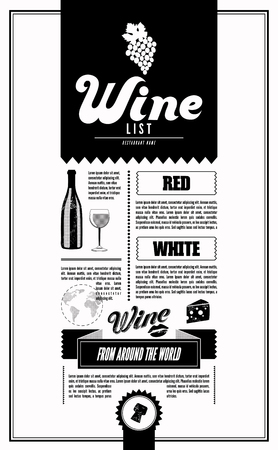 Wine List. Vector design template.