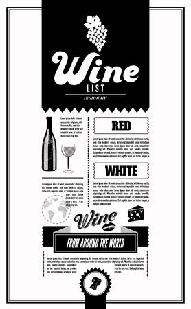corcho: Carta de vinos. Vector plantilla de diseño.