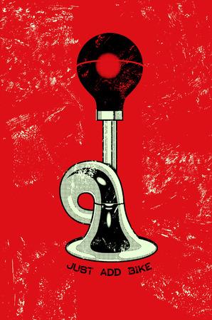 Retro grunge poster with klaxon. Vector illustration. Vettoriali