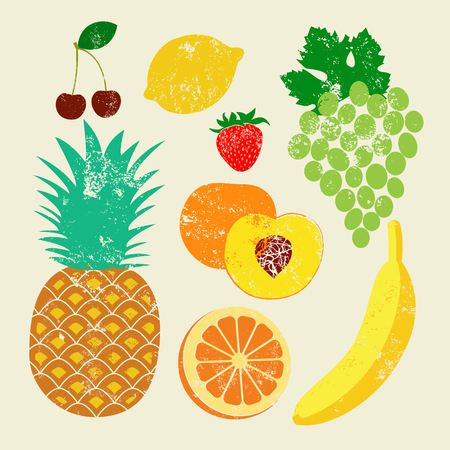Collection of retro fruits. Vintage vector set of fruits. Иллюстрация