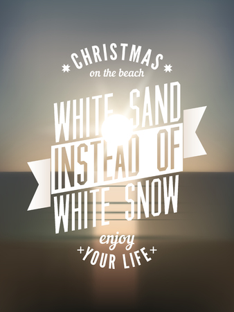blurry: Christmas on the beach. Vector typography design with blurry background.