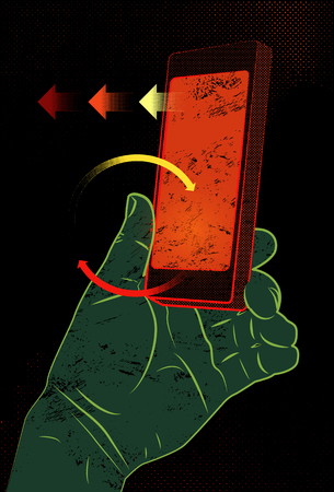 holding smart phone: Vector illustration in retro style with hand holding smart phone, touching screen.