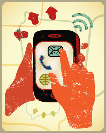 holding smart phone: Vector illustration in retro style with hands holding a smart phone.
