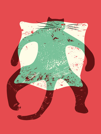 whisker characters: Cartoon retro funny cat on the pillow. Vector grunge illustration.