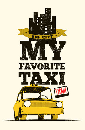 yellow taxi: Taxi cab retro poster. Vector illustration.