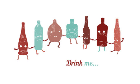 drink me: Retro poster Drink me... Collection of funny bottles. Vector illustration.