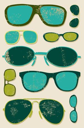 Vector grunge set of retro glasses. Glasses background.