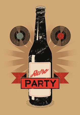 grunge bottle: Vintage grunge style poster for retro party with a beer bottle. Vector illustration.