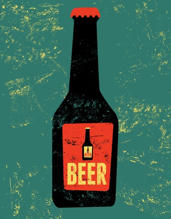 brew beer: Vintage grunge style poster with a beer bottle. Retro vector illustration.