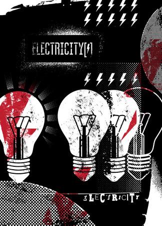 energetics: Electricity. Retro grunge poster. Vector illustration.