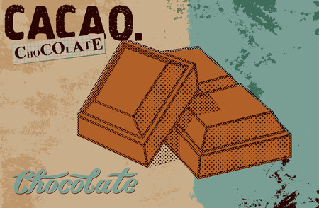 bar of chocolate: Vintage Chocolate poster design. Chocolate pieces. Vector illustration.