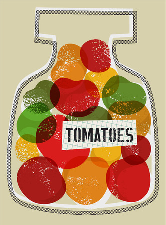 food preservation: Tomatoes in jar. Vector illustration in retro style.