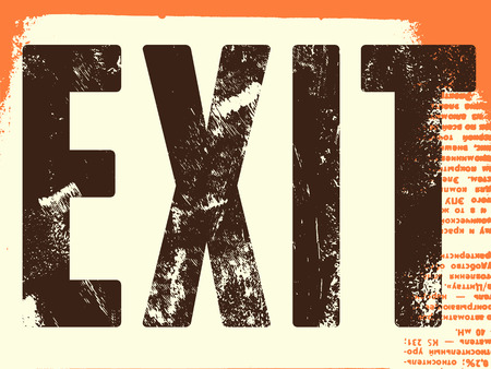 exit sign: Retro Exit Sign. Vector poster.