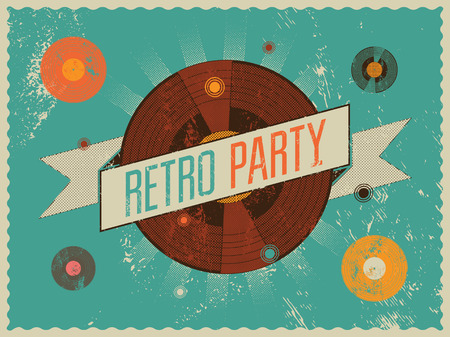 Retro party poster design. Vector illustration.