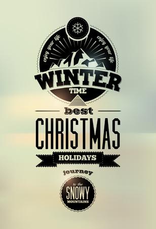winter time: Winter time. Typographic Retro Vector Christmas Design.