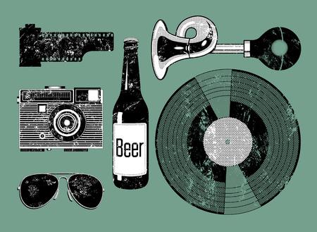 botellas de cerveza: grunge conjunto de vectores de las cosas retro para las inconformista. Vectores