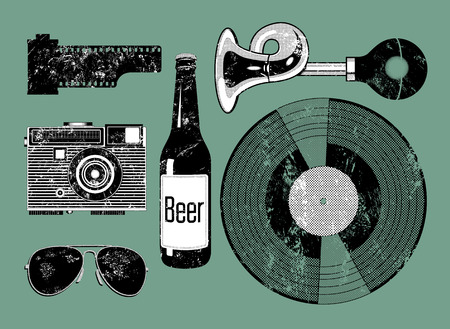 beer bottle: Vector grunge set of retro things for hipster.