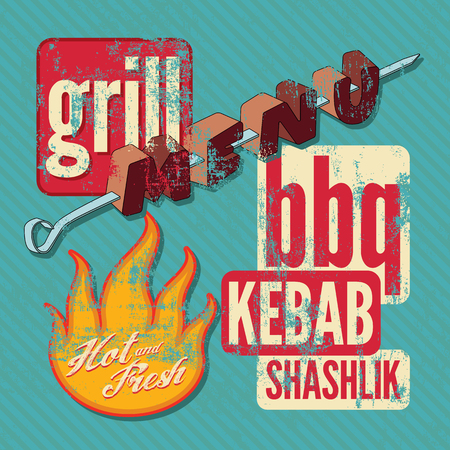 grill: Restaurant grill menu typographic design. Retro grunge vector illustration.
