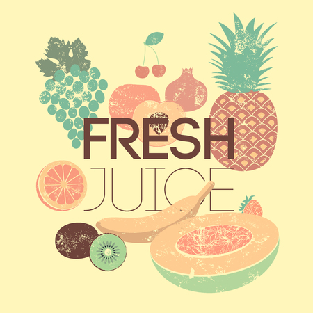 Fresh juice retro grunge poster. Vector typographical design. Иллюстрация