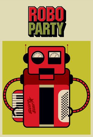 retro robot: Party vintage poster with retro robot. Vector illustration.