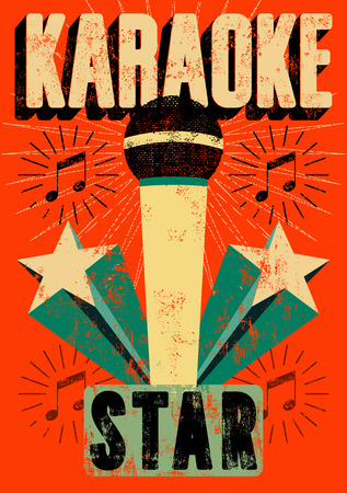 Typographic retro grunge karaoke poster. Vector illustration. Vectores