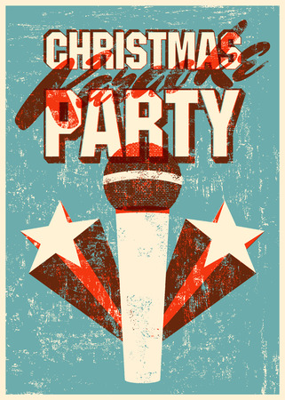 Typographic retro grunge Christmas karaoke party poster. Vector illustration.