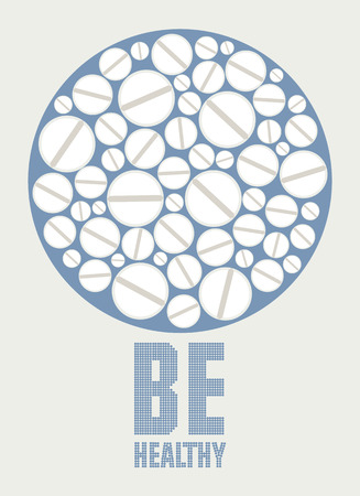 white pills: Healthy lifestyle poster with white pills. Vector illustration.