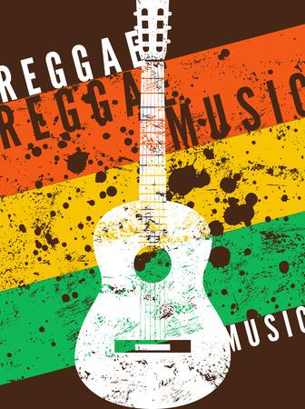 reggae: Affiche de la musique reggae. Rétro typographique vecteur grunge illustration.