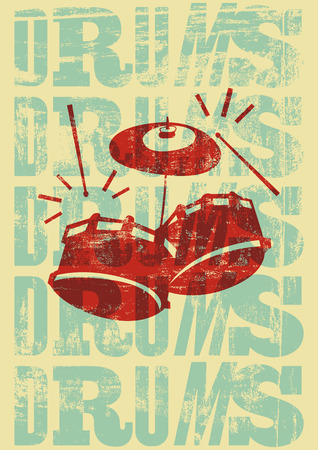 typographical: Drums vintage style grunge poster. Retro typographical vector illustration.
