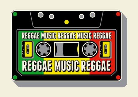 Reggae muziek poster. Retro typografische grunge vector illustratie. Stock Illustratie