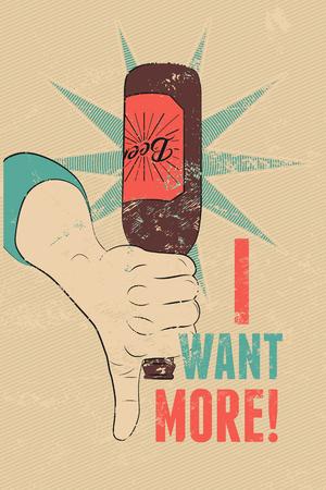 grunge bottle: Vintage grunge style beer poster. Hand hold an empty bottle of beer. Retro vector illustration. Illustration