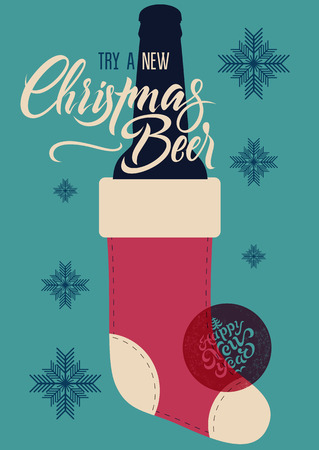 Calligraphic retro Christmas Beer poster. Vintage vector illustration.