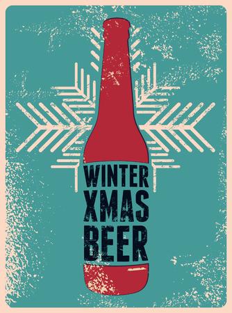 Winter, Xmas, Beer. Typographic retro grunge Christmas beer poster. Vector illustration.