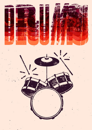 Typographical drums vintage style poster. Retro grunge illustration.