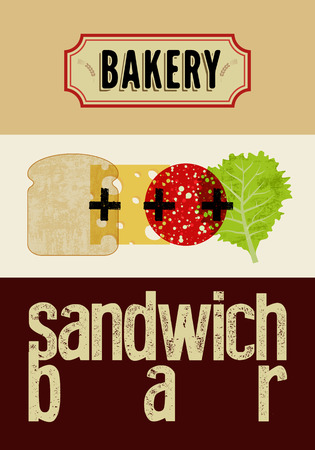 retro grunge: Typographic retro grunge poster for bakery and sandwich bar.