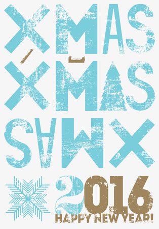 typographical: Typographical vintage style Christmas card or poster design. Retro grunge illustration. Illustration