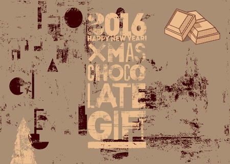 typographical: Typographical vintage Christmas Chocolate Gift poster design. Retro grunge illustration.