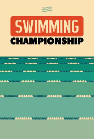 Typografische vintage poster stijl voor zwemmen Kampioenschap.