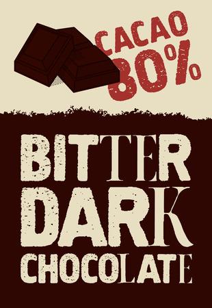 bitter: Bitter dark chocolate. Typographical vintage Chocolate poster design. Vector illustration.