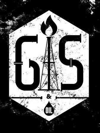 industry poster: Gas and Oil. Black-white retro typographical grunge industry poster. Vector illustration.