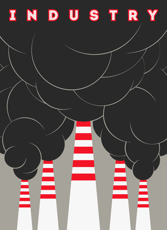 industry poster: Retro typographical industry poster with smokestacks. Vector illustration.