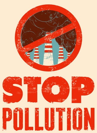 antipollution: Stop Pollution sign with smokestacks. Environmental pollution poster. Vector illustration.