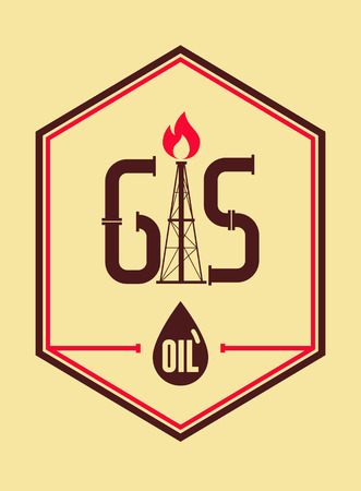 oil and gas industry: Gas and Oil. Retro typographical industry poster. Vector illustration.