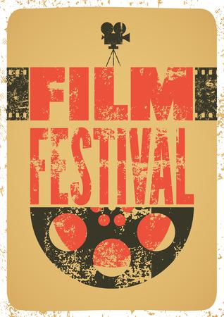 cinematograph: Film festival poster. Retro typographical grunge vector illustration.
