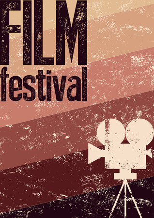 movie camera: Film festival poster. Retro typographical grunge vector illustration.