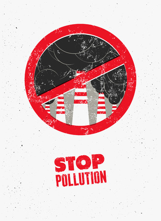 stop pollution: Stop Pollution sign with smokestacks. Environmental pollution poster. Vector illustration.