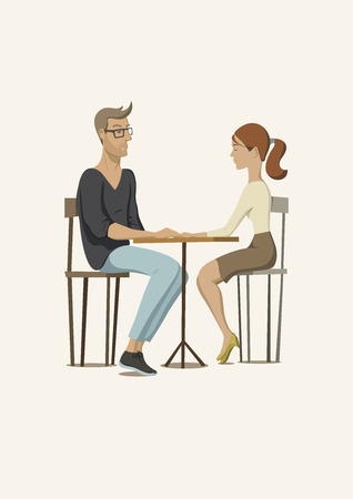 diffident: Romantic scene with a couple in love. Young man and woman at the table. Vector illustration.