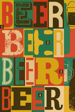 typographical: Typographical vintage style Beer poster design. Retro vector illustration. Illustration