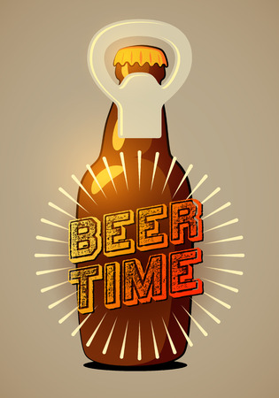 bottle cap: Beer Time. Typographic retro beer poster. Vector illustration. Eps10.